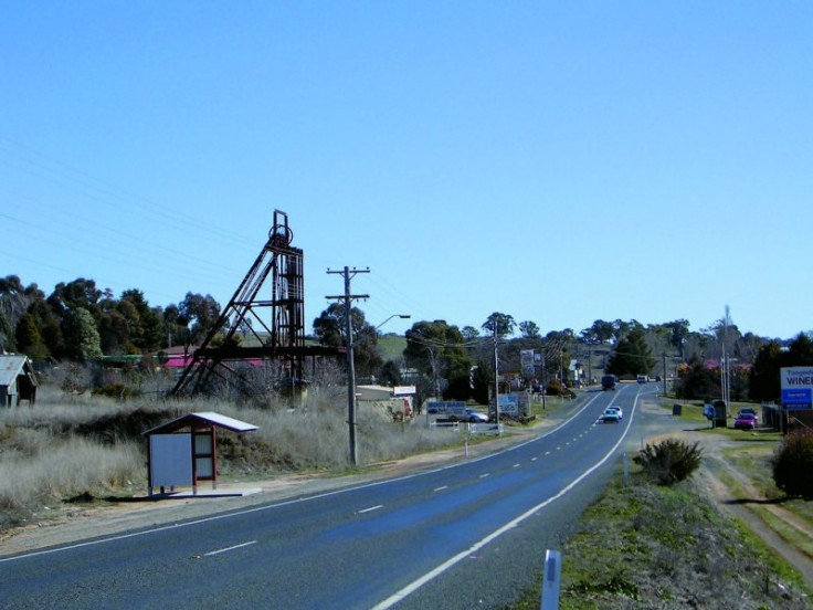 The poppet head of the Reform Mine silhouetted against the skyline to the East of the village