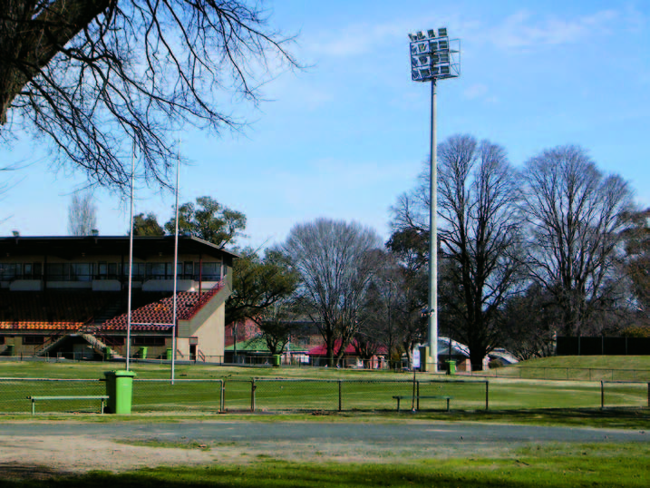 Night lighting and grandstand at Wade Park